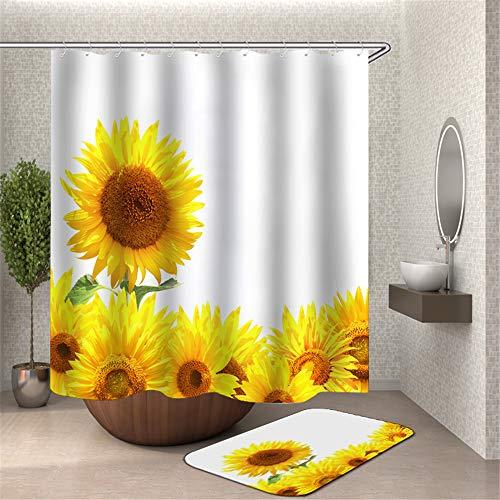 Chickwin Duschvorhang Wasserdicht Anti-Schimmel, 3D Polyester Bad Vorhang mit 12 Duschvorhangringe für Badezimmer Décor Duschehvorhang (180x180cm,Weiße Sonnenblume)
