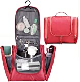 Bago Hanging Toiletry Bag For Women & Men - Leak Proof Travel Bags for Toiletries with Hanging Hook & Inner Organization to Keep Items From Moving - Pack Like a PRO (Red)