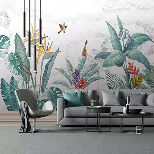 Dalxsh Modern dekbedovertrek handgeschilderd tropische planten bloemen en vogels bladeren achtergrond muur schilderij gepersonaliseerd fotobehang voor woonkamer slaapkamer 280 x 200 cm