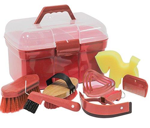 Amesbichler Bauletto da Equitazione Completo di Accessori per Pulizia, Colore Rosso