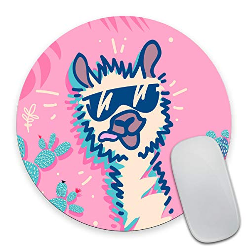 Smooffly Round Gaming Mouse Pad Custom Design, Funny Llama Non-Slip Rubber Mouse Pads Cute Circular Mat