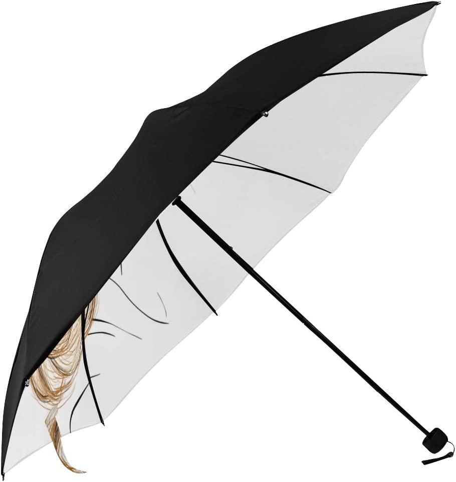 Large Compact Cheap Umbrella famous Young Woman Fashion Blonde Underside Hair