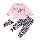 Conjuntos de Camiseta de Leopardo para niñas y niños Camisas de Manga Larga con Estampado de Letras Pantalones Largos...