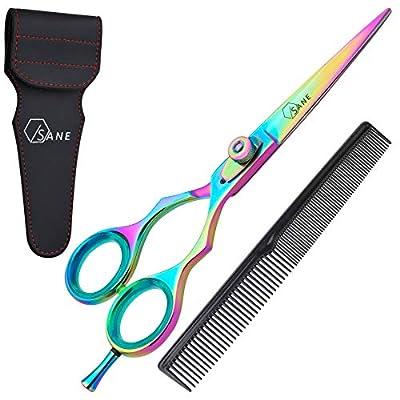 Sane Professional Hairdressing Scissors 6.5'' Titanium Coated Hair Scissors Hair Cutting Scissor with Adjustable Screw Ultra Sharp Barber Scissors for Women/Men/Kids & Barbers with Free Hair Comb