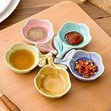 QINS Piatto di Salsa di soia in Ceramica Crepa di Ghiaccio Plum Blossom Antipastiera Piatto per Insalata di aceto Salsa di soia Wasabi, Azzurro