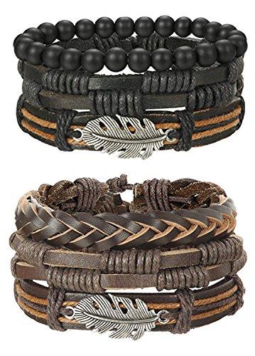 BESTEEL 6 STÜCKE Leder Armband Baum des Lebens für Herren Damen Geflochtenes Armbänder Wrap Holzperlen Charme Handgemacht, Einstellbar Feder