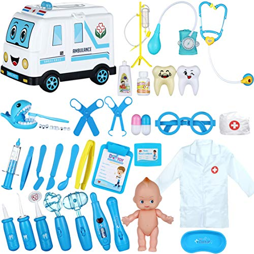 PRAABDC Toy Doctor Kit for Kids Doctor Playset  35 Pcs Kids Pretend Play Doctor Dentist Set for Kids Medical Role Play Educational Toy with Doctor CostumeAmbulance Storage CaseBlue