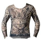 和彫り タトゥー Tシャツ 刺青 入れ墨シャツ 面白Tシャツ ロンT 伝統 日本 本物志向 (cs36)