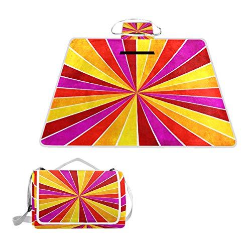 TIZORAX Picknickdecke, bunt, Gelb, Rosa, Orange und Rot, wasserdicht, faltbar, für Strand, Camping, Wandern