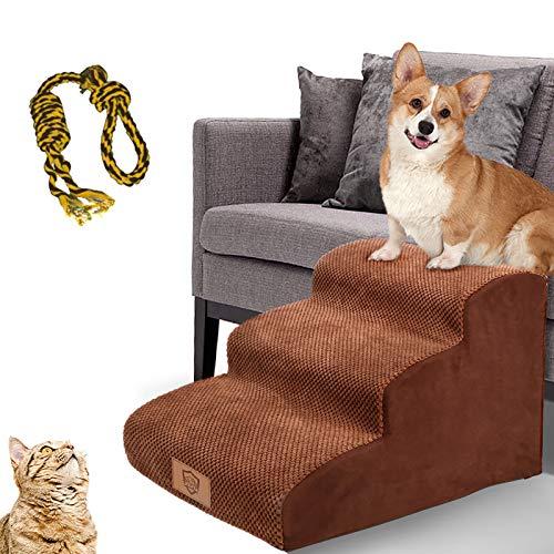 MASTERTOP Haustiertreppe für Hunde und Katzen mit, 3 Stufen Hundetreppe für Hunde und Katzen für hohe Betten, Leiter Haustierleiter, tragbar, abnehmbar, waschbar mit 1 Spielzeugknoten