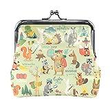 Bolsas para bolso de camping, animales, estilo dibujado a mano, minúsculas de motivación para mujeres con cierre de beso monedero pequeño para mujeres y niñas de 4.5 x 4.1 pulgadas