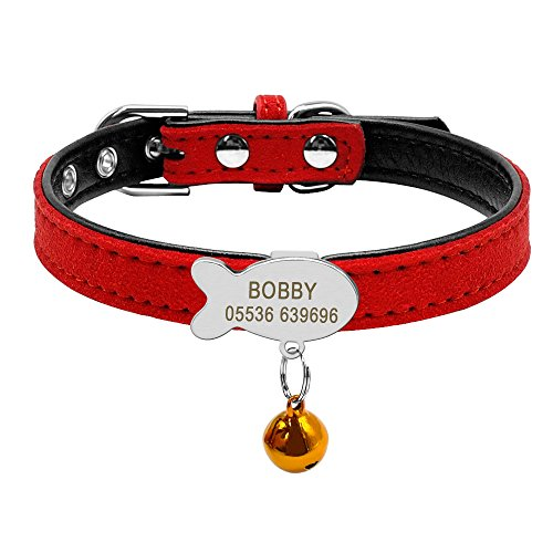 Didog Soft Suede Leather Custom Kitten Cat Collar with Personalized Fish Shaped Slippable ID Tag,Red,XS Size