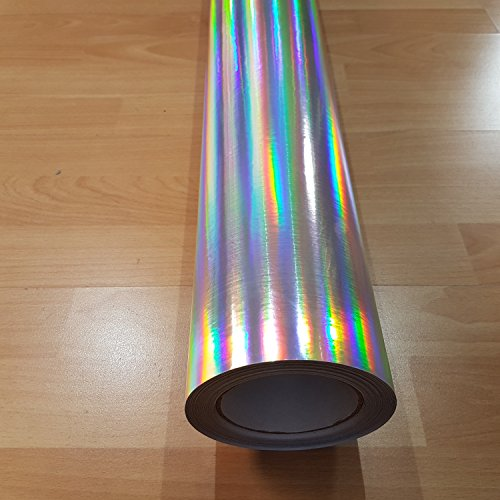 Romel - 24 [21,00€/m²] 30CM X 150CM Folie Selbstklebend Luftkanäle Chrom Hologramm Schwarz-Silber-Grün-Rot-Gelb + DEUTSCHE Anleitung (Silber)