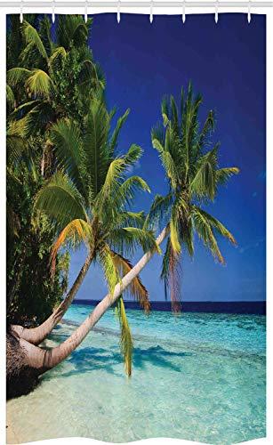 ABAKUHAUS Urlaub Schmaler Duschvorhang, Malediven Bay Resort, Badezimmer Deko Set aus Stoff mit Haken, 120 x 180 cm, Marineblau Türkis