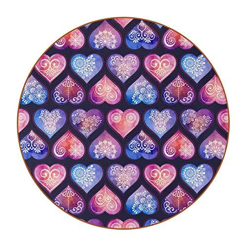 Posavasos para Bebidas Corazon Morado Rosa Coasters Juego de 6 impresión Mug Mats para la Cocina Salón Bar Decoración Regalos de Diseño Creativo 11x11 cm