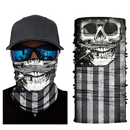 4Clean 3D Schlauchschal Halstuch Sturmmaske Gesichtsmaske Kopfbedeckung Outdoor Bandana Balaclava Motorrad Ski Biker UV-Schutz Sonnenschutz Staubschutz Maske (S115)