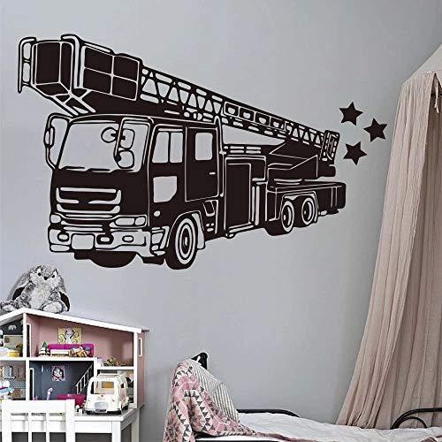 Pegatina de pared de bombero de camin de bomberos juego de vinilo de pared de coche de bombero de camin de bomberos