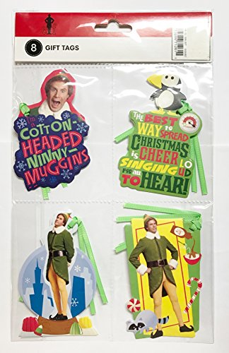 Elf the Movie Large Gift Tags with Ribbon - Officially Licensed (Pack of 8)