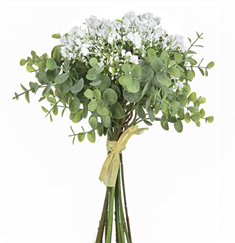 Anna Homey Decor Fake Flowers Pack of 1 Flower Bouquets,Total of 6 Baby Breath Flowers and 6 Silver Dollar Eucalyptus Artificial Flowers for Home Office Indoor Outdoor Wedding Aisle Decoration(White)