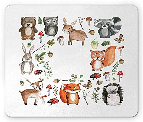 SHAQ Cartoon Mouse Pad von, süße Eule Rentier Bier Igel Marienkäfer Kaninchen Schmetterling Walnuss Kinder Kinderzimmer Thema, Standardgröße Rechteck rutschfestes Gummi-Mauspad, mehrfarbig