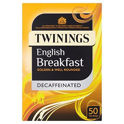 Twinings décaféiné Sachets de thé Petit Déjeuner Anglais 50 par boîte (Lot de 2)