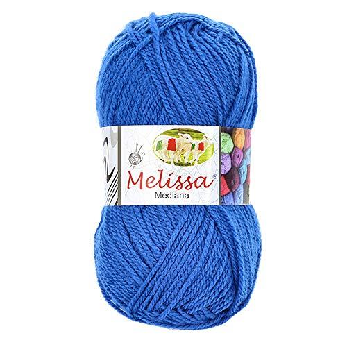 Melissa Hilo 100% Acrilico Ovillo de Lana (200m 100g * 1=50g * 2) Premium para DIY Tejer y Ganchillo, Certificado OEKO-TEX Standard 100,Agujas Talla 4(1/2)-5,Azul 17,Enviado desde Europa