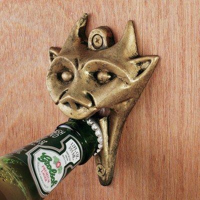 Authentic Gargoyle Bottle Opener in Antique Brass, Garden, Lawn, Maintenance