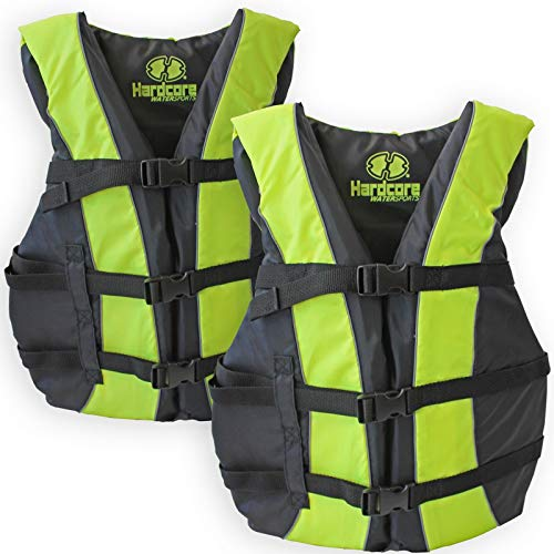 2 Pack Hardcore Adult Life Jacket PFD Type III Coast Guard Ski Vest Neon Yellow
