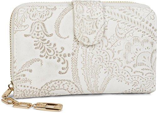 styleBREAKER Geldbörse mit Paisley Blumen Blüten Prägung, umlaufender Reißverschluss, Portemonnaie, Damen 02040098, Farbe:Weiß