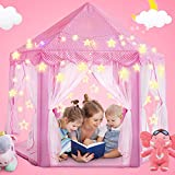 Magicfun Princess Tent, Large Play Tent Girls Castle With Star Lights String, Portable