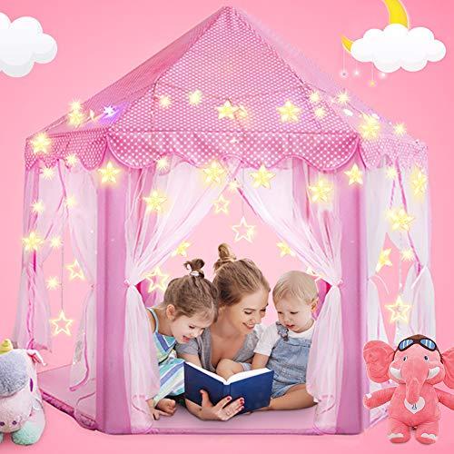 Magicfun Tiendas para Niños, Juego de Castillo Princesa Interior Tiendas, a los niños al Aire Libre Portable Gran Playhouse con pequeñas Luces de Estrellas Interior Juguetes