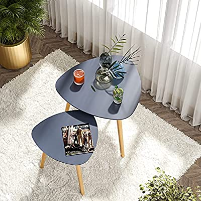 BAMEOS Bamboo Nesting Triangle End Table,Set of 2 Coffee Table Modern Minimalist Side Table for Living Room