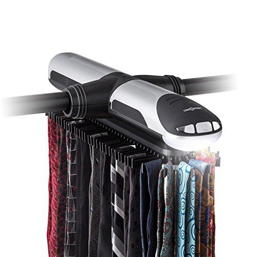 Oneconcept Savile Row Corbatero eléctrico con luz LED 72 Perchas (Carrusel Corbatas y Cinturones,...