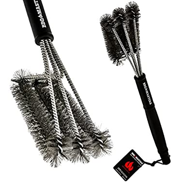 BBQ Masters Giant 18  Grill Cleaning Brush - Stainless Steel 3-In-1 Triple Bristle Head - Cleans Scrapes Grates and Racks, Safe For All Gas or Charcoal Grills