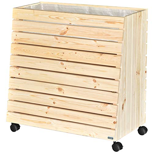 WAGNER GreenFAMILY - Mobiles Hochbeet - GreenBOX - Gr. L - Nadelholz massiv, FSC®, Natur, 79 x 80 x 43/33 cm, 4 Rollen, 2 Feststeller, Stauraum-Klappe, inkl. Pflanztasche - 25013101