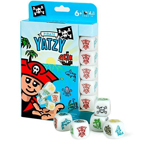 Scherzboutique YATZY - Pirate | mit einfachen BILDWÜRFELN für kleine Spieleinsteiger | REISESPIEL – Spielblock & Packung im Reise-Format | Spiele-Klassiker in der Piraten-Version Grundschüler