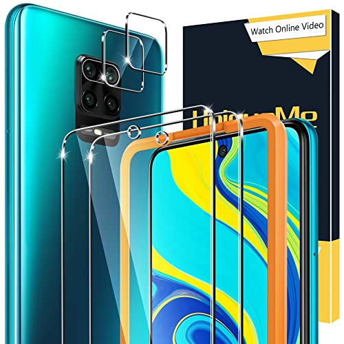 [2+2 Stück] UniqueMe Schutzfolie Kompatibel mit Xiaomi Redmi Note 9s /9 Pro/9 Pro Max Panzerglas & Kamera Schutzglas, [Anti- Kratzer][9H Festigkeit] HD Folie Klar Bildschirmschutz Gehärtetes Glas