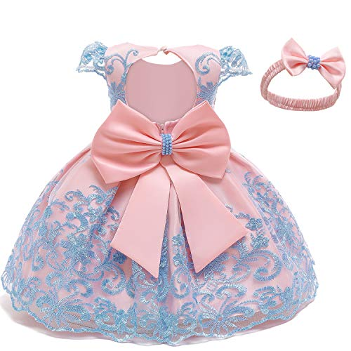 NNJXD Baby Girls Formal Dress Bowknot Baptism Embroidery Tutu Dress with Headwear Size (70) 0-6 Months Blue 2(with Headwear)