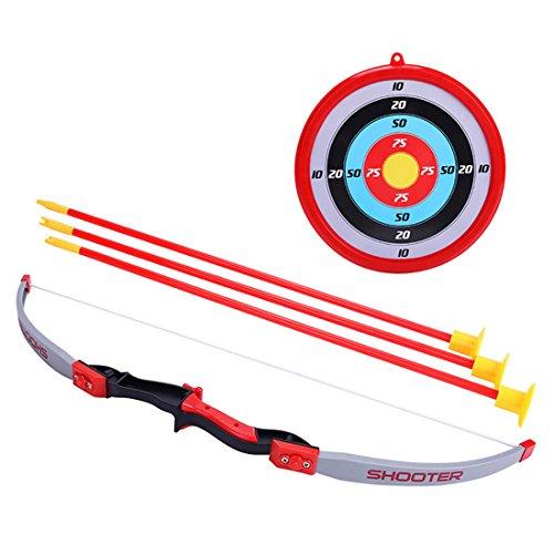 LVPY Set de Tiro con Arco de Juguete para Niños Arco Flecha Estuche Juegos de con 3 Flechas de Tiro,Rojo