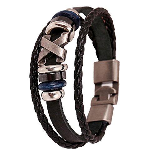 DZT1968(TM) 2015 Men Leather Jewelry Korea Punk Bracelet Stainless Steel Fittings