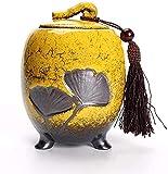 Urna Funeraria Urna para Cenizas De Perros Urna Decorativa - Urna Funeraria para Cenizas Humanas - Cerámica Y Pintada A Mano - Urna Funeraria De Exhibición En Casa O En Nicho, Amarillo (Color: Verde)