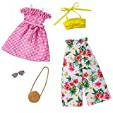 Barbie Fashions 2-Pack Clothing Set, 2 Outfits Doll Include Floral Wide-Legged Pants, a Yellow Bandeau Top, Pink Gingham Dress & 2 Accessories, for Kids 3 to 8 Years Old