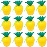 12 Pack Hawaiian Tropical Luau Party Plastic Pineapple Cup with Straw