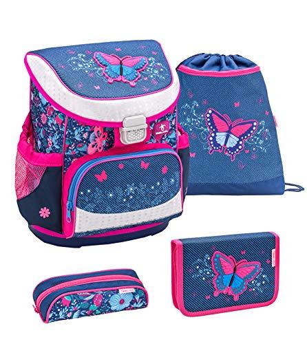 Belmil ergonomischer Schulranzen Set 4 -teilig für Mädchen 1, 2 Klasse Grundschule/Super Leicht 750-800 g/Brustgurt/Schmetterling, Butterfly/Blau, Blue (405-33 Butterfly Jeans)