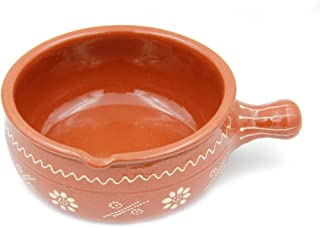 Traditional Portuguese Hand-painted Vintage Clay Terracotta Cooking Casserole Cazuela (N.4 10.2