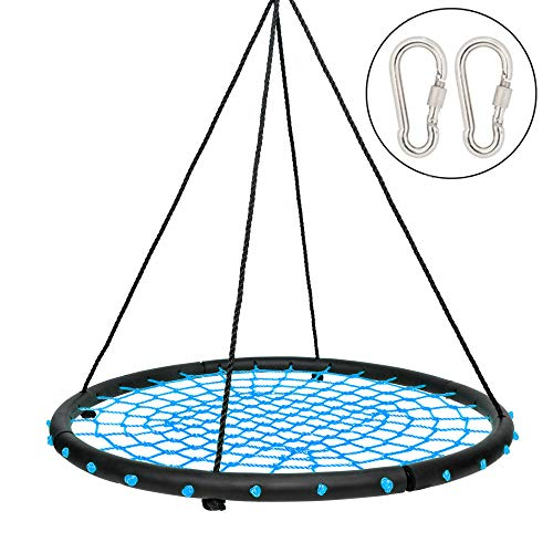 JOYMOR 40 Inch Over 600 lbs Net Spider Web Round Rope Swing with Adjustable 6ft Hanging Ropes, 2 Carabiners Great for Swing Set, Backyard, Playground, Playroom (Blue)