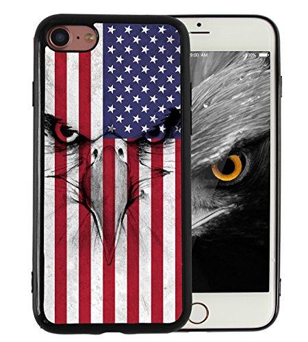 KITATA Coque de protection fine en TPU lisse et solide pour iPhone 7 et iPhone 8 Motif aigle et drapeau américain Noir
