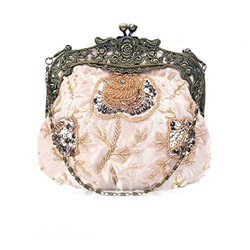 Flada damas y mujeres Vintage lentejuelas bolso hecho a mano con cuentas noche embragues fiesta de boda champán
