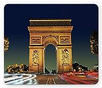 パリのマウスパッド、Arc旋門パリフランスの観光客の入り口ラウンドアバウトの夕方の日没の風景、標準サイズの長方形滑り止めラバーマウスパッド、多色