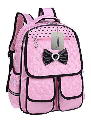 Puretime Girls Cute Pu Leather School Backpack Satchel Travel Bag Princess Style (Pink)